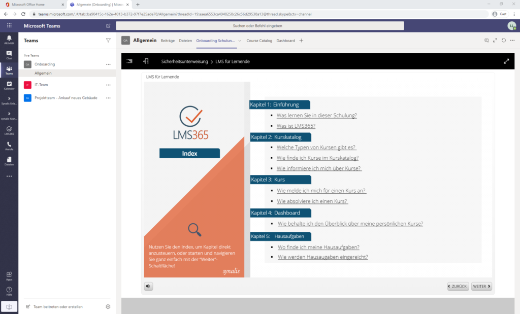 MicrosoftTeams synalis Blogbeitrag Onboarding