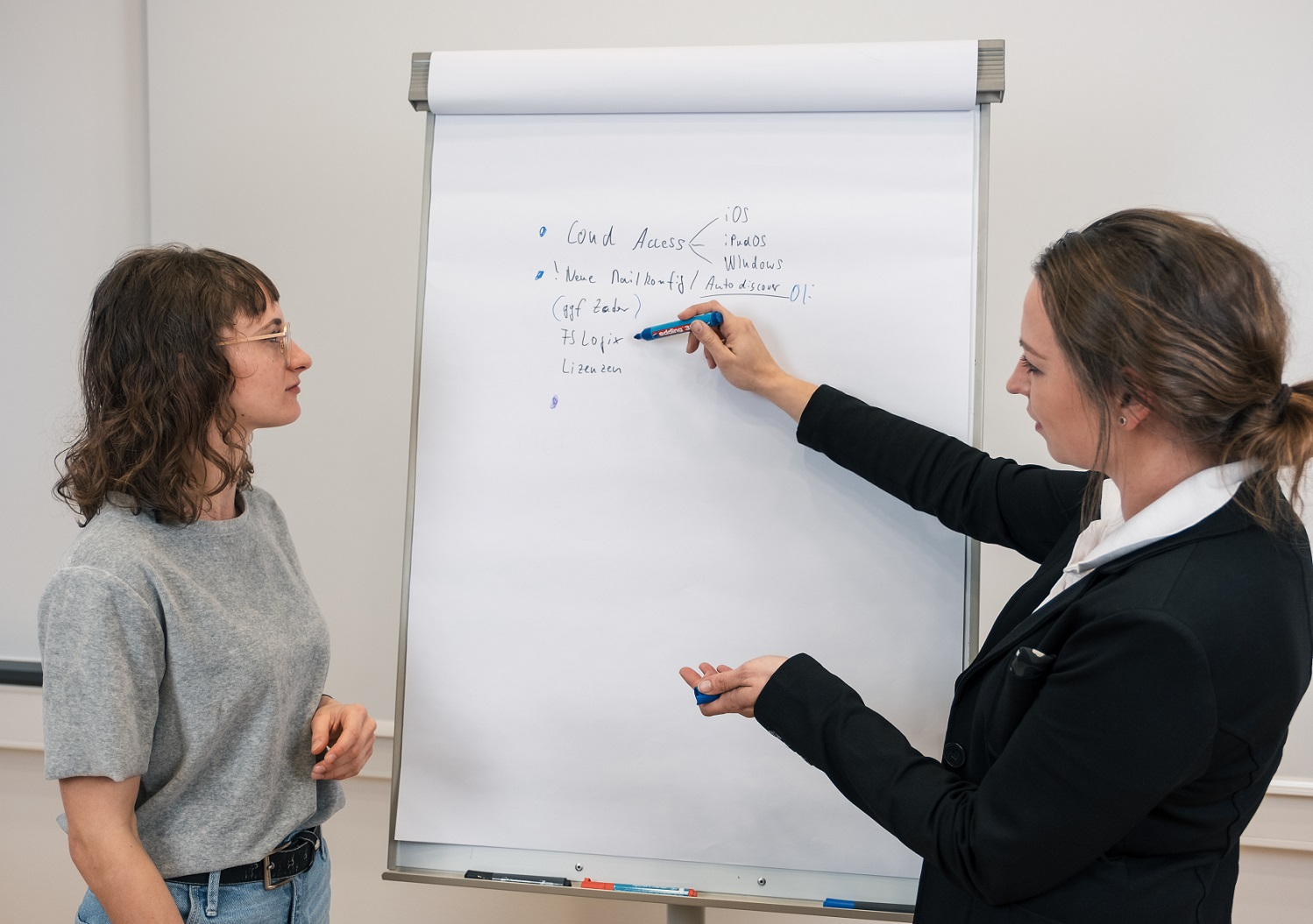 Dialog 2 Personen im IT-Workshop und Training
