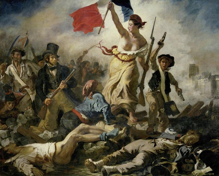 Die Freiheit führt das Volk als Sinnbild für Freiheiten durch die Cloud