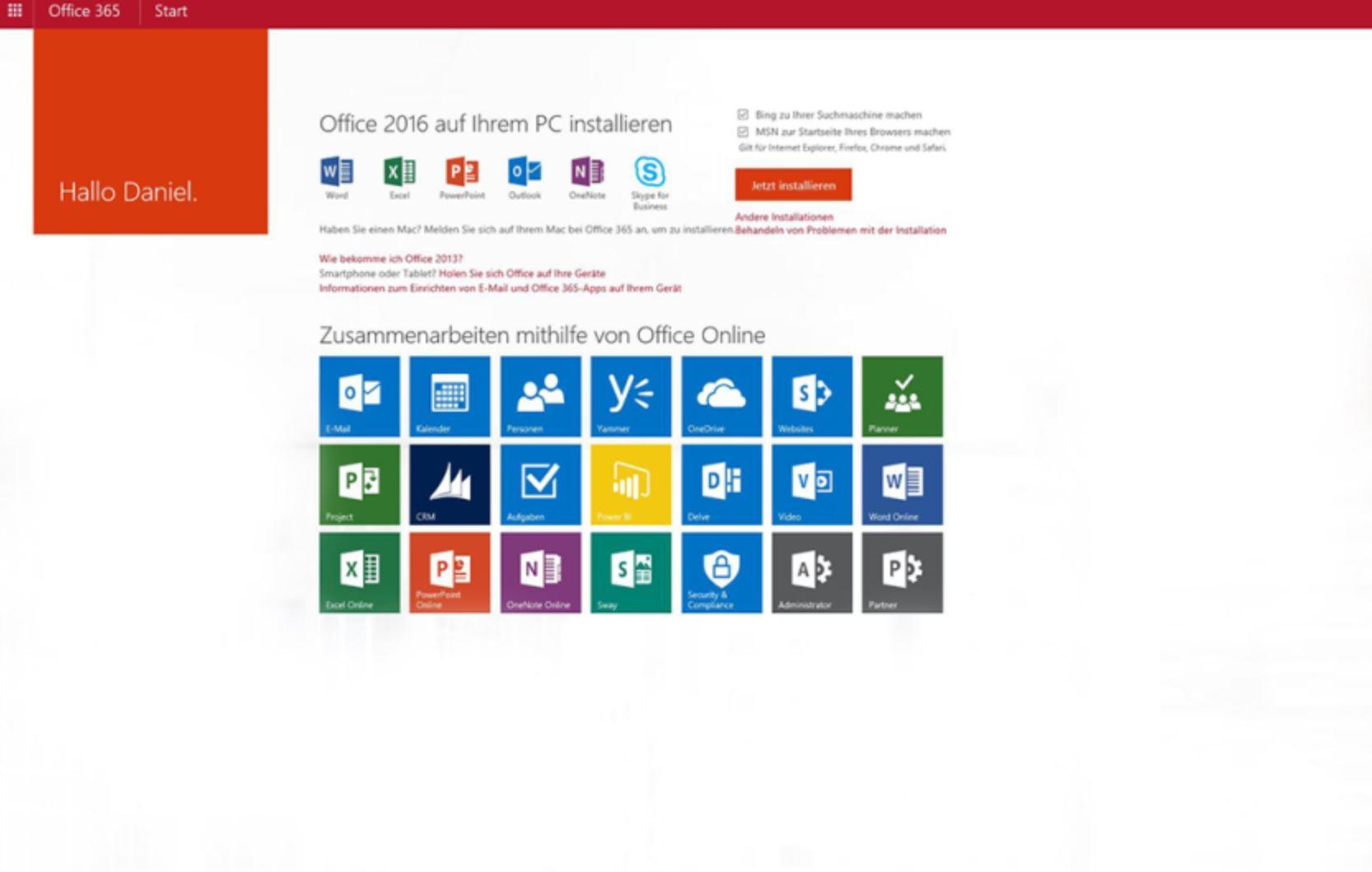 Microsoft Office_365_SAAS-Oberfläche_