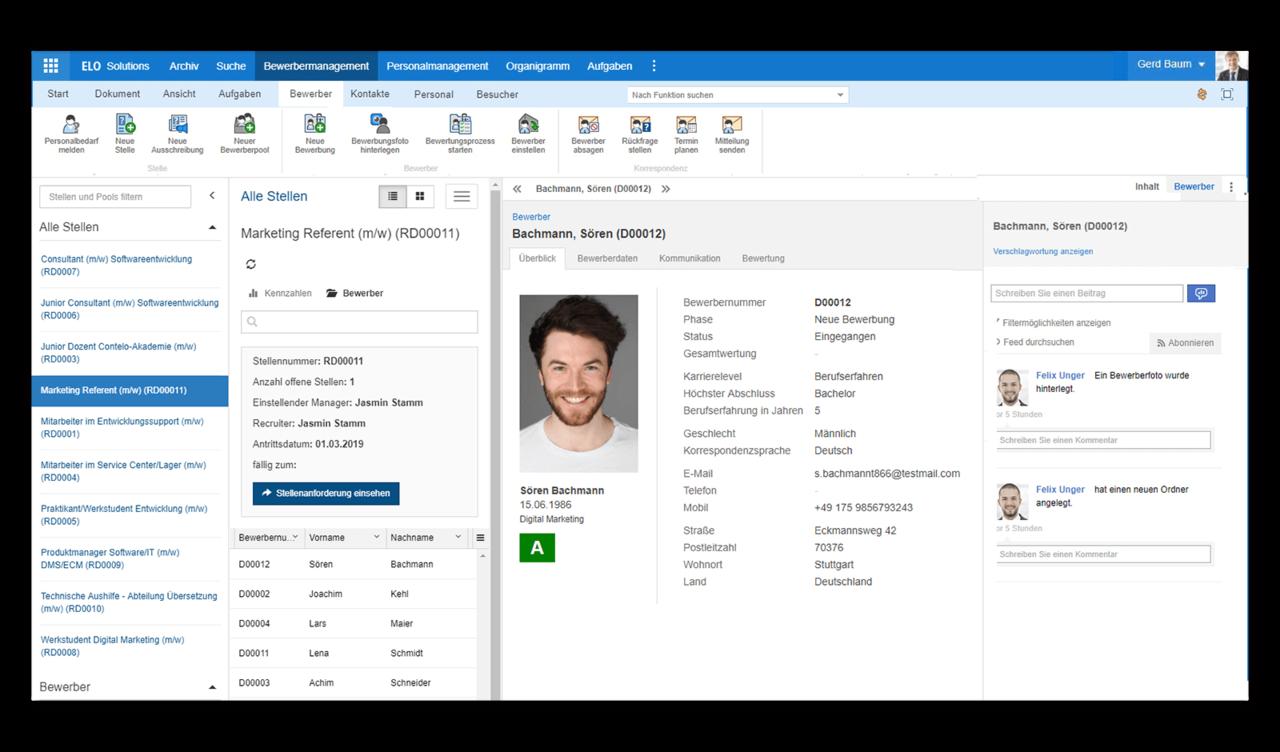 Screenshot Bewerberakte ELO HR Recuriting