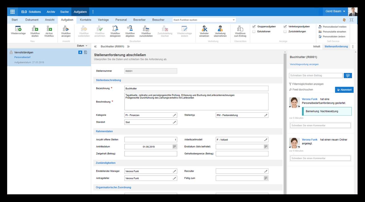 Screenshot ELO HR Lösung für Bewerbermanagement
