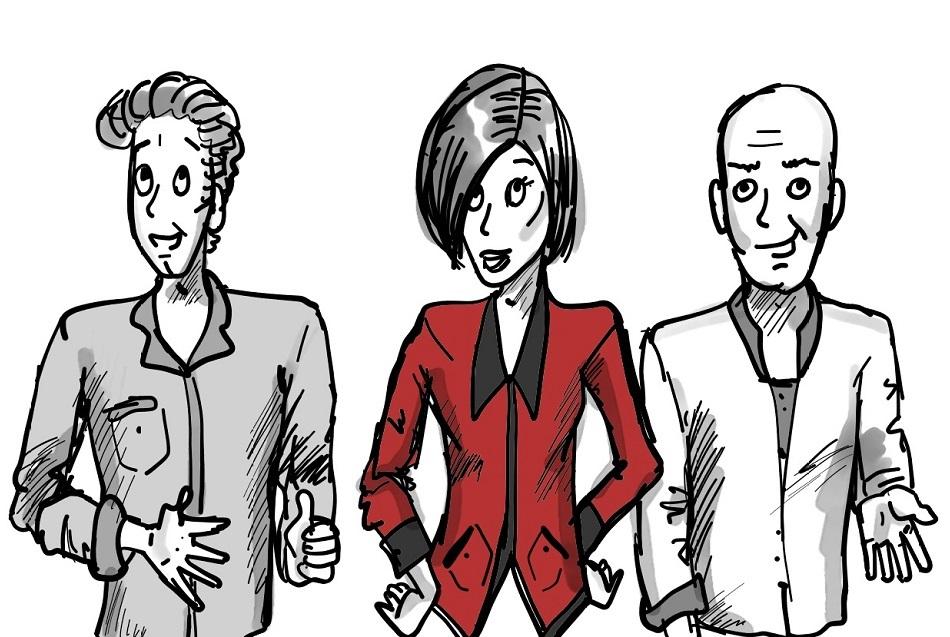 Gemischtes Team aus 3 Mitarbeitern