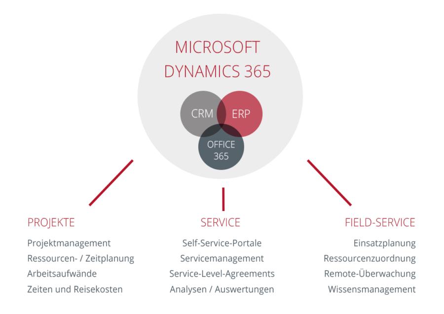 Grafik Microsoft Dynamics 365 Funktionen und Komponenten