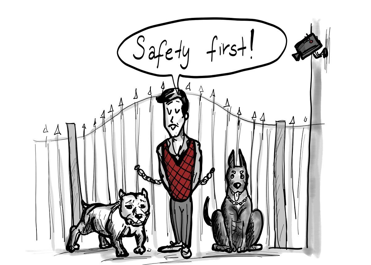 Scribble Safety First Sicherheitsvorkehrungen Cyber Security