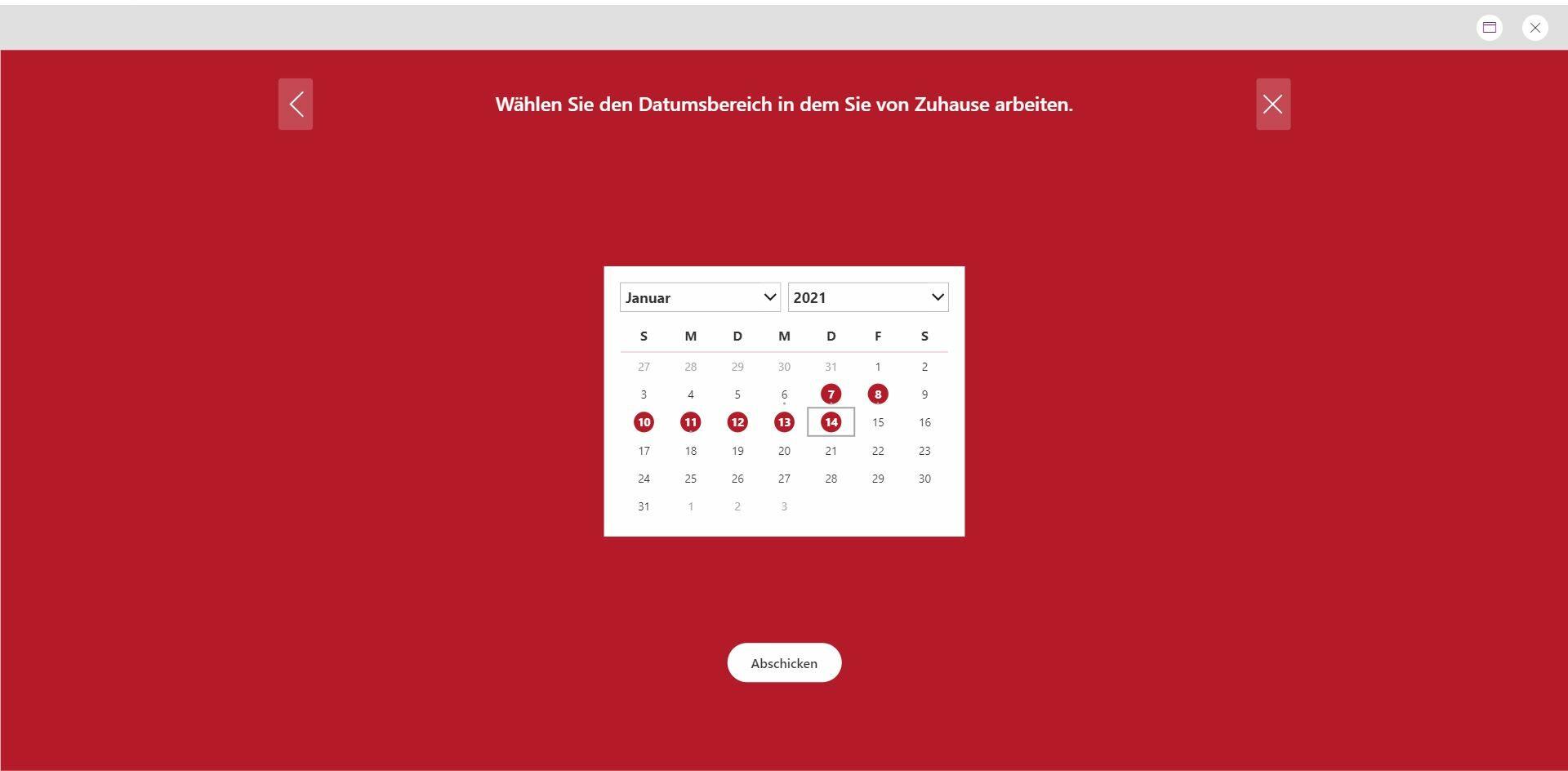Power Apps Auswahl_Arbeit_von_Zuhause_Browser Krisenmanagement