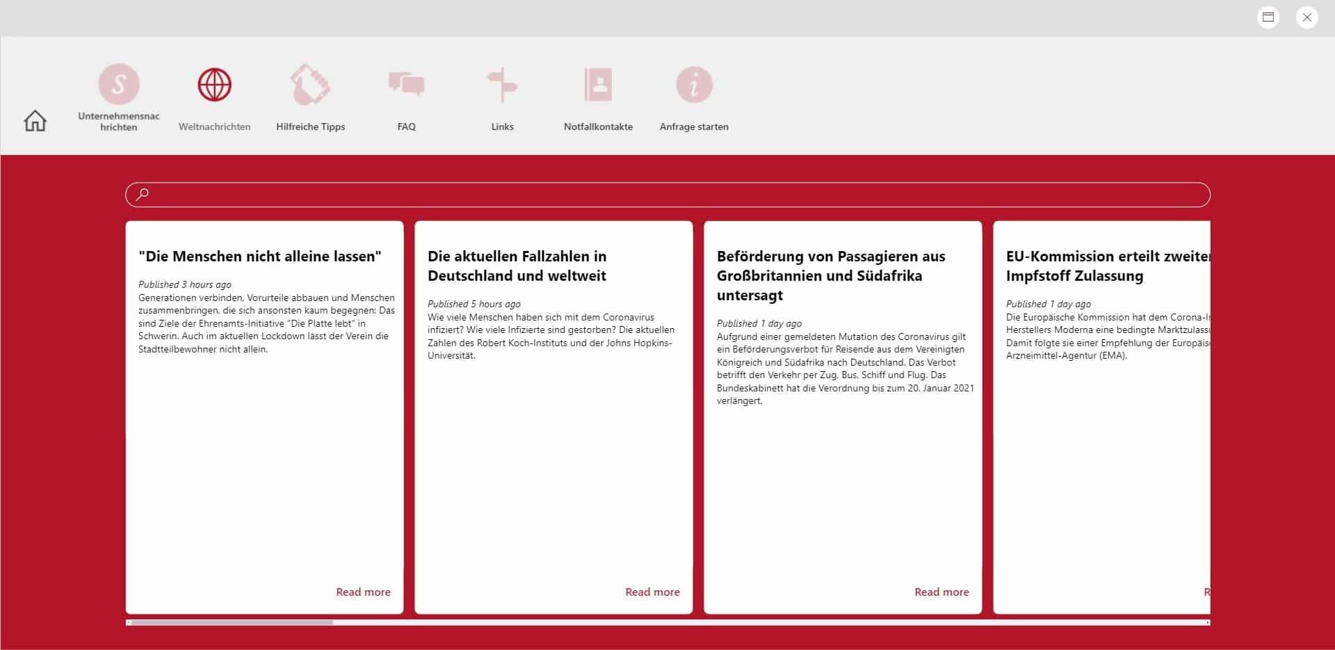Power Apps Weltnachrichten_Uebersicht_Browser