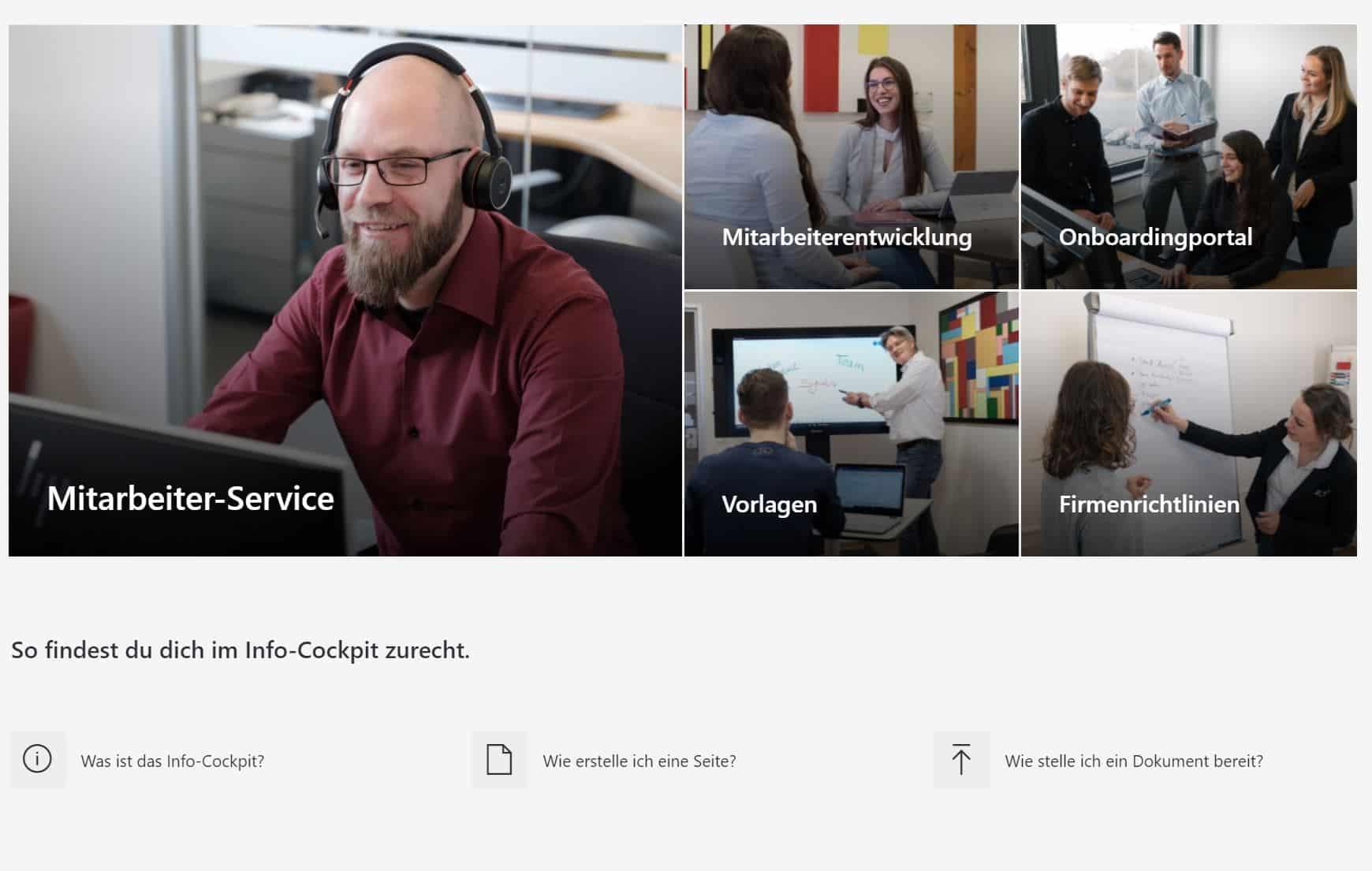 Digitales Onboarding Info-Cockpit SharePoint