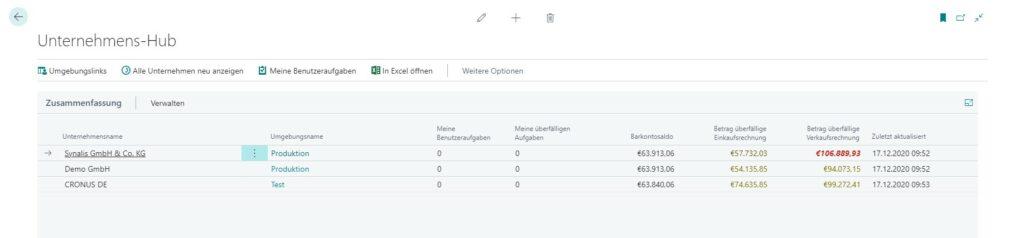 Suchfunktion Unternehmens-Hub bei Business Central 2020 Release Wave 2