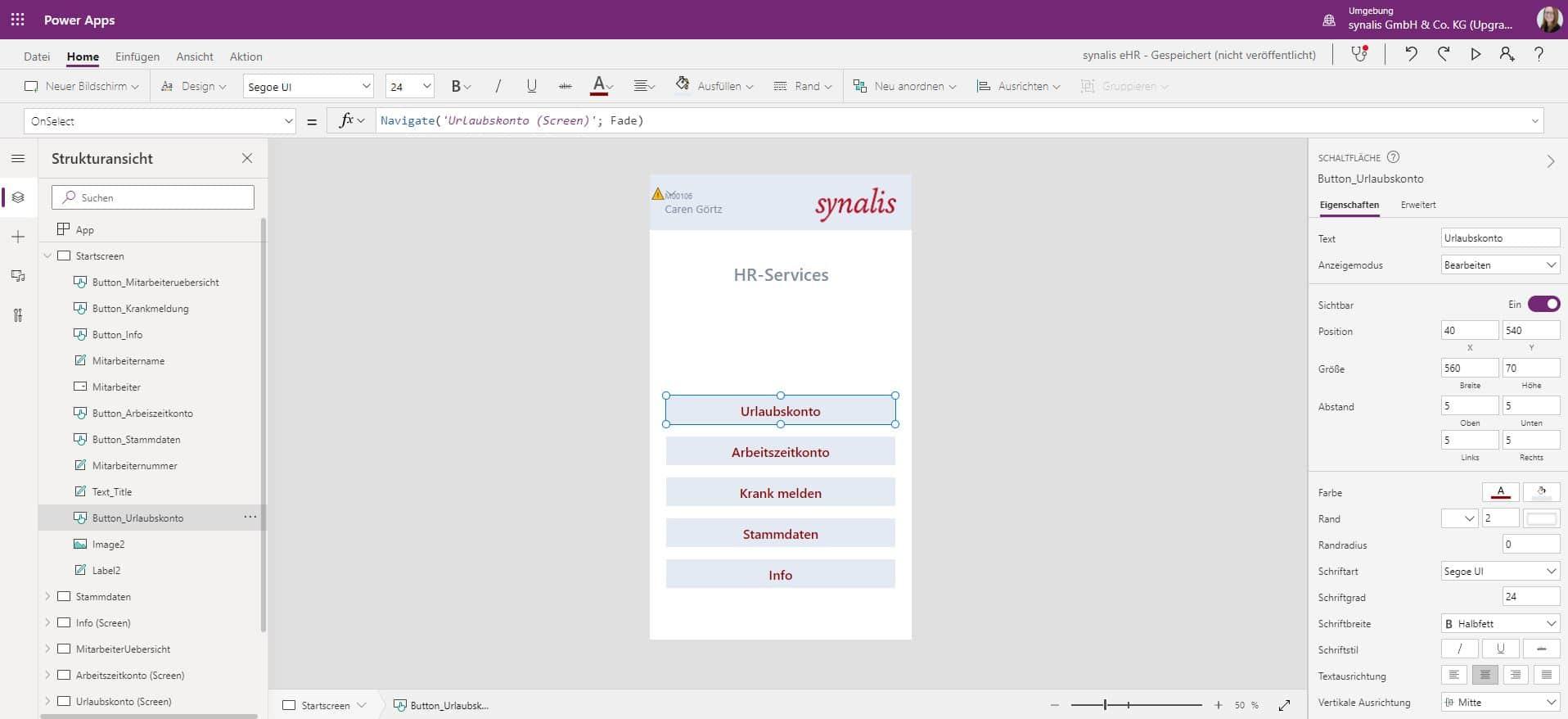 Microsoft Power Apps_HR-Power App-Menüansicht Backend