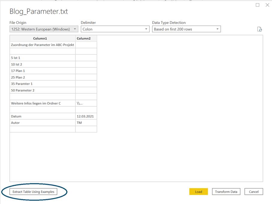 Microsoft Power BI: Textimport